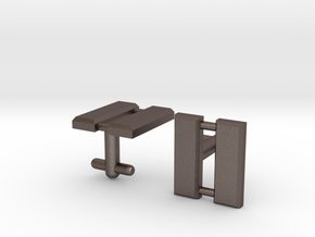 Captain Bars Cufflinks in Polished Bronzed Silver Steel