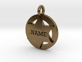 Small 6 point Sheriff's Star Pet Tag  in Natural Bronze