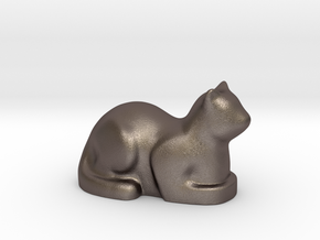 Stylized Cat in Polished Bronzed Silver Steel