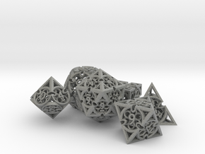 Gothic Rosette Dice Set in Gray PA12