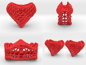 Sine Surface Heart Earring (002a) in Red Processed Versatile Plastic