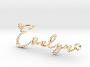 Evelyn First Name Pendant in 14k Gold Plated Brass