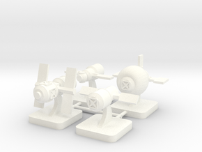 Mini Space Program, Space Stations, 4-set in White Processed Versatile Plastic