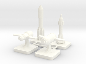 Mini Space Program, Russian Spacecraft, 4-set in White Processed Versatile Plastic
