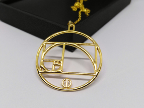 Fibonacci Pendant in 18k Gold Plated Brass