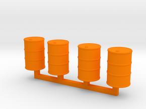 Steel Drums 55 Gallon Closed in Orange Processed Versatile Plastic: 1:64 - S