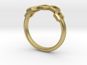 Slim Honeycomb Ring by BeeLove in Natural Brass: 4 / 46.5