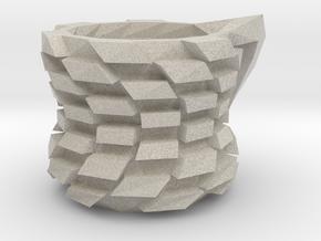 Twisted cubic vase in Natural Sandstone