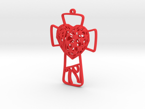 Voronoi Heart + Cross Earring (001) in Red Processed Versatile Plastic