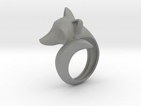 Stylish decorative fox ring in Gray PA12