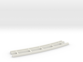 Dual Gauge Baulk Road LH Curve (N Scale) in White Natural Versatile Plastic