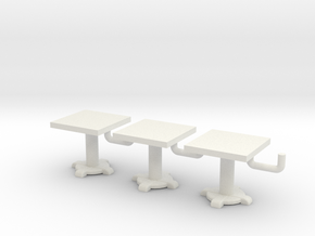 1/72 scale Square Tables x3 in White Natural Versatile Plastic