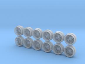 Set of 3 - Multispoke Deep Dish Wheels in Smooth Fine Detail Plastic