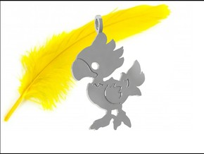 Baby Chocobo in Polished Silver