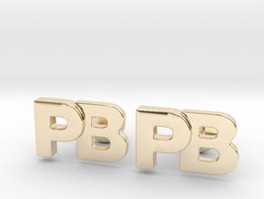 Monogram Cufflinks PB in 14k Gold Plated Brass