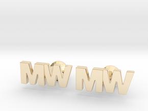 Monogram Cufflinks MW in 14k Gold Plated Brass