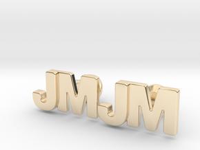 Monogram Cufflinks JM in 14k Gold Plated Brass