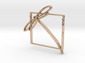 Abstract Dragonfly In Square - Keychain, Medallion in 14k Rose Gold