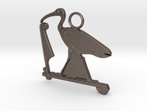 Djehuty / Thoth Ibis amulet in Polished Bronzed-Silver Steel