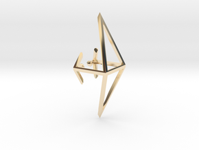 short octahedron ear cuff in 14K Yellow Gold