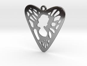 Voronoi Heart+Cartoon Earring (002) in Fine Detail Polished Silver