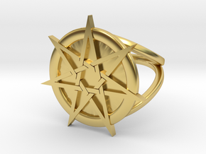 Fairy star ring in Polished Brass: 7 / 54