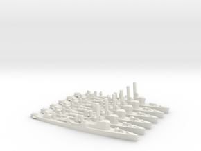 British Town-Class Destroyer (v3) (x6) in White Natural Versatile Plastic