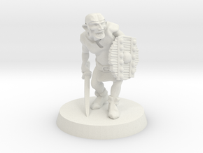 Goblin with sabre, 28mm scale in White Natural Versatile Plastic