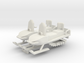 Snowmobile 2 Pack 1-64 Scale in White Natural Versatile Plastic
