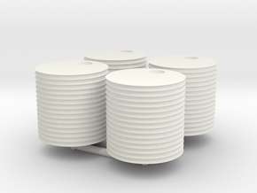 HO scale 500-gallon water tank (set of 4) in White Natural Versatile Plastic