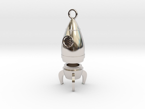 Bitcoin Rocket Pendant -- Type - 1B  in Rhodium Plated Brass