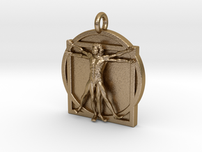 Vitruvian Man pendant 2_fixed in Polished Gold Steel