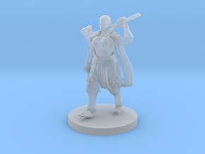 Female Human Barbarian with Hammer in Smooth Fine Detail Plastic