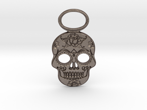 Sugar Skull #1 in Polished Bronzed-Silver Steel