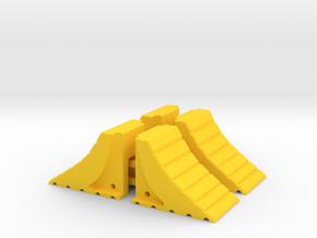 4 x Wheel Chocks 1Tenth Scale in Yellow Processed Versatile Plastic