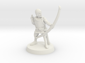 Human archer 28mm scale in White Natural Versatile Plastic