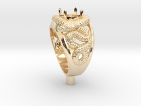 snakering-gemstone-LR in 14k Gold Plated Brass: Large