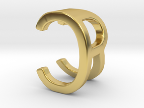 Two way letter pendant - CR RC in Polished Brass