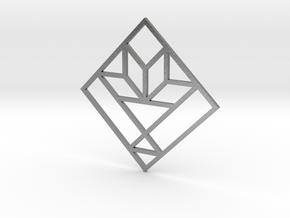 Cactus Basket Quilt Block Pendant in Natural Silver