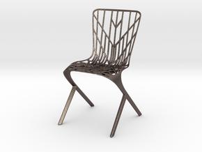 Washington Skeleton Aluminum Side Chair in Polished Bronzed Silver Steel