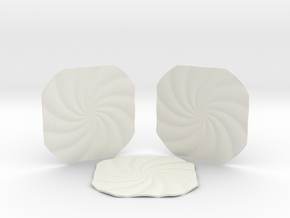 Spiral Coasters in White Natural Versatile Plastic