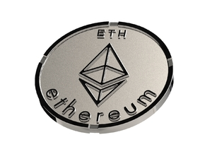 Ethereum Coin ETH in Polished Silver