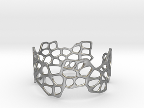Cells Bracelet (open, 64mm) in Natural Silver