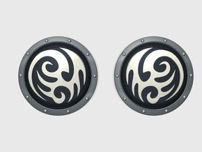 Tribal Swirl - Round Power Shields (L&R) in Smooth Fine Detail Plastic: Small