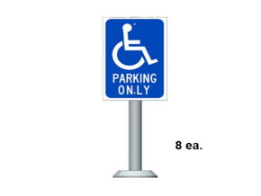Handicap Parking Sign in Smooth Fine Detail Plastic: 1:87 - HO
