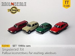 SET 1990s cars (TT 1:120) in Smooth Fine Detail Plastic