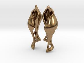 Shell Wine Earrings. in Natural Brass