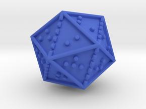 Braille Twenty-sided Die d20 in Blue Processed Versatile Plastic