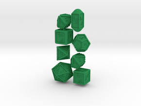 Braille Polyhedral Gaming Dice Set (8 Dice) in Green Processed Versatile Plastic