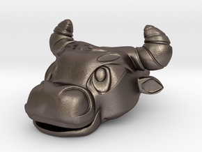 bull head 30p in Polished Bronzed-Silver Steel